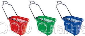 Корзина-тележка покупательская для магазина самообслуживания на 4-х колесах пластик 45 литров арт. KPPK-45K