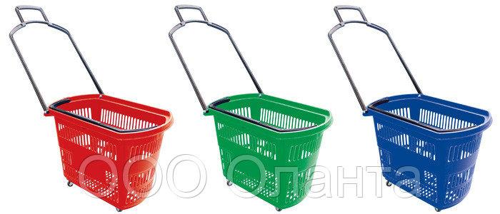 Корзина-тележка покупательская для магазина самообслуживания на 4-х колесах пластик 30 литров арт. KPPK-30K