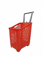 Корзина-тележка покупательская для магазина самообслуживания на 4-х колесах пластик 65 литров арт. KPPK-65K