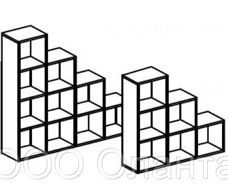 Стеллаж для игрушек и пособий на 10 ячеек ЛЕСЕНКА двухсторонний (1400х400х1444 мм) арт. СТЛ2/1