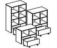 Стеллаж для игрушек и пособий на 4 ячейки с выкатным ящиком ДОМИНО двухсторонний (708х400х1100 мм) арт. СТД2/1