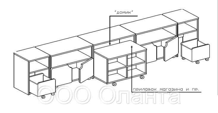 Комплект тумб для детского сада (3200х400х620)