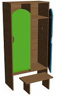 Шкаф для одежды двухсекционный (648х330х1400) со скамьей, фото 1