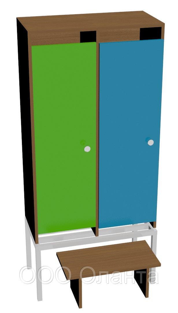 Шкаф для одежды двухсекционный на металлокаркасе (648х330х1400) со скамьей