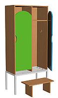 Шкаф для одежды двухсекционный на металлокаркасе (648х330х1400) со скамьей, фото 1