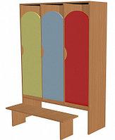 Шкаф для одежды трехсекционный (964х330х1400) со скамьей, фото 1