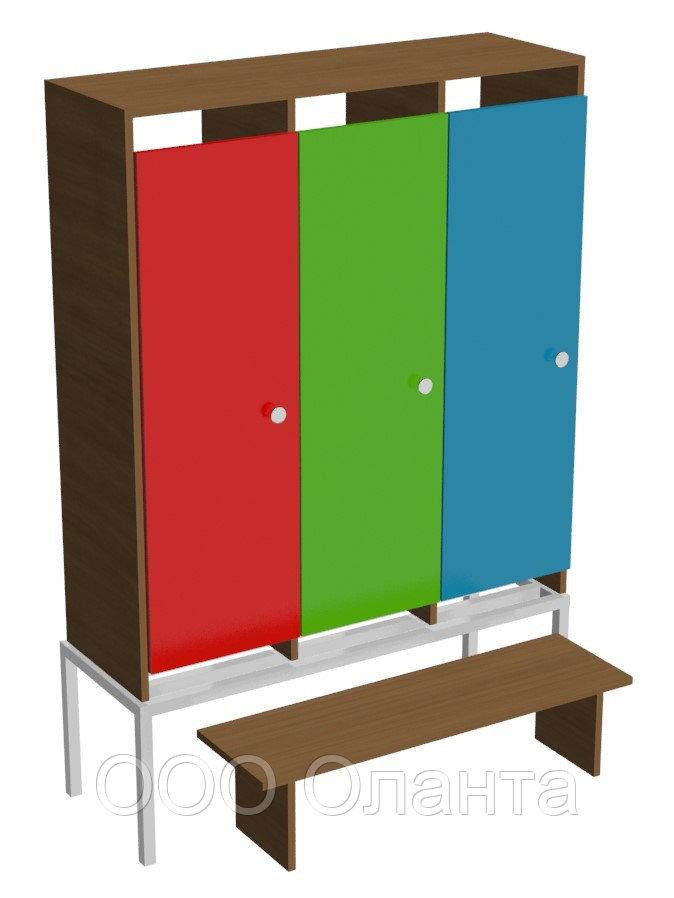 Шкаф для одежды трехсекционный на металлокаркасе (964х330х1400) со скамьей