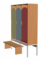 Шкаф для одежды трехсекционный на металлокаркасе (964х330х1400) со скамьей, фото 1
