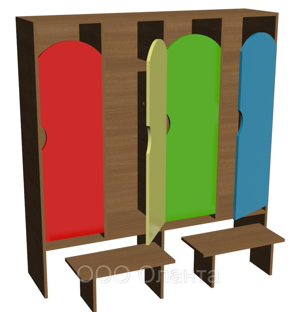 Шкаф для одежды четырехсекционный (1280х330х1400) со скамейками