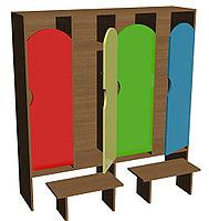 Шкаф для одежды четырехсекционный (1280х330х1400) со скамейками, фото 1