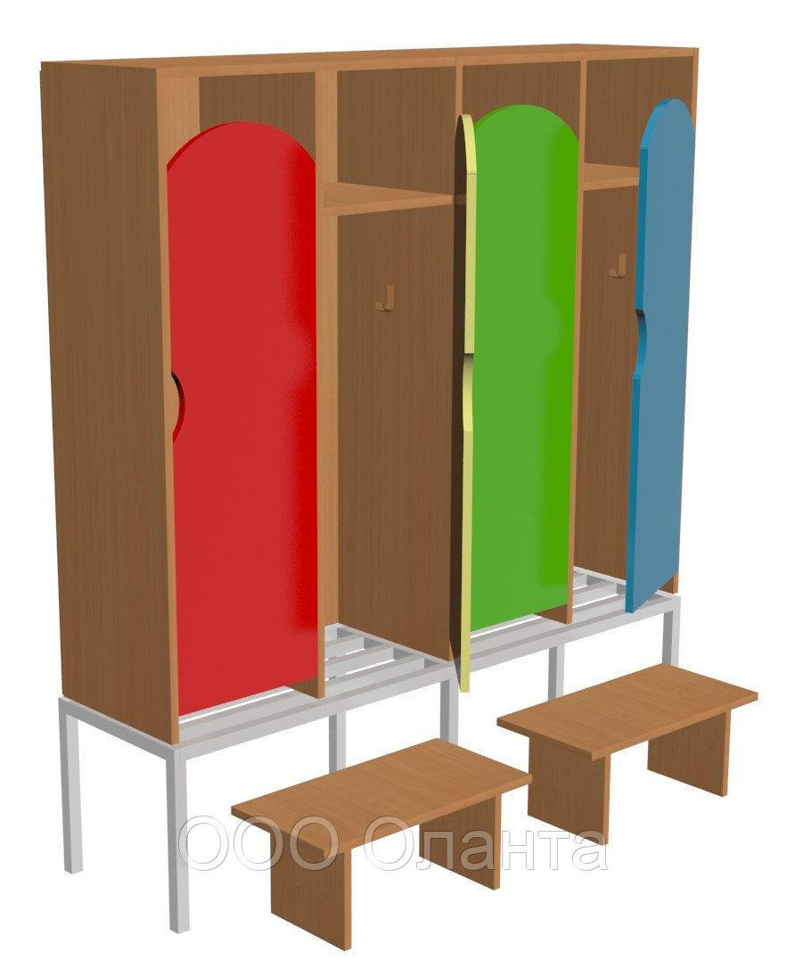 Шкаф для одежды четырехсекционный на металлокаркасе (1280х330х1400) со скамейками