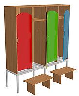 Шкаф для одежды четырехсекционный на металлокаркасе (1280х330х1400) со скамейками, фото 1