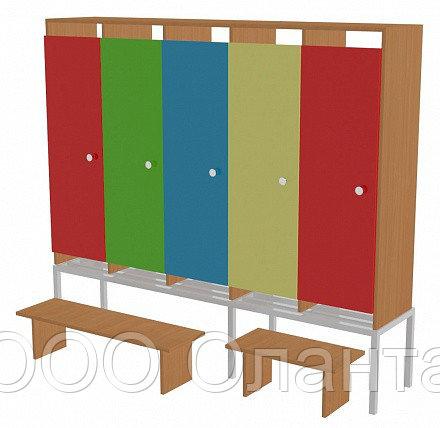 Шкаф для одежды пятисекционный на металлокаркасе (1596х330х1400) со скамейками