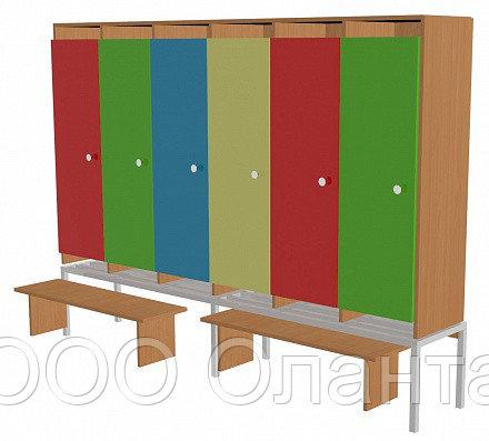 Шкаф для одежды шестисекционный на металлокаркасе (1912х330х1400) со скамейками