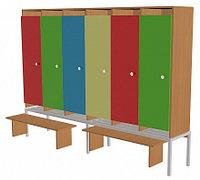 Шкаф для одежды шестисекционный на металлокаркасе (1912х330х1400) со скамейками, фото 1