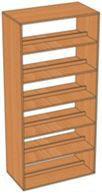 Шкаф-стеллаж библиотечный двухсторонний с горизонтальными полками (850х450х1900 мм) ЛДСП арт. ШСБ2