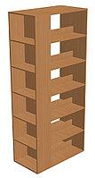Шкаф-стеллаж библиотечный трехсторонний с горизонтальными полками (850х450х1900 мм) ЛДСП арт. ШСБ3
