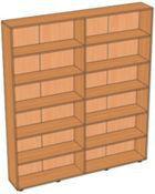 Шкаф-стеллаж библиотечный с горизонтальными полками (1600х250х1900 мм) ЛДСП арт. ШСК1