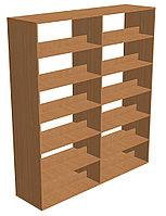 Шкаф-стеллаж библиотечный двухсторонний с горизонтальными полками (1600х450х1900 мм) ЛДСП арт. ШСК2