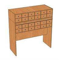 Шкаф каталожный библиотечный 24 ящика (1210х500х1270 мм) ЛДСП арт. ШКБ2