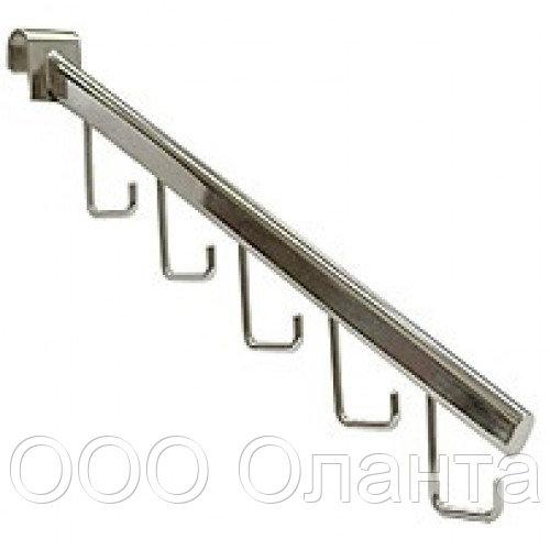 Кронштейн наклонный 5 крючков (L=400 мм) GLOBAL хром арт. R112