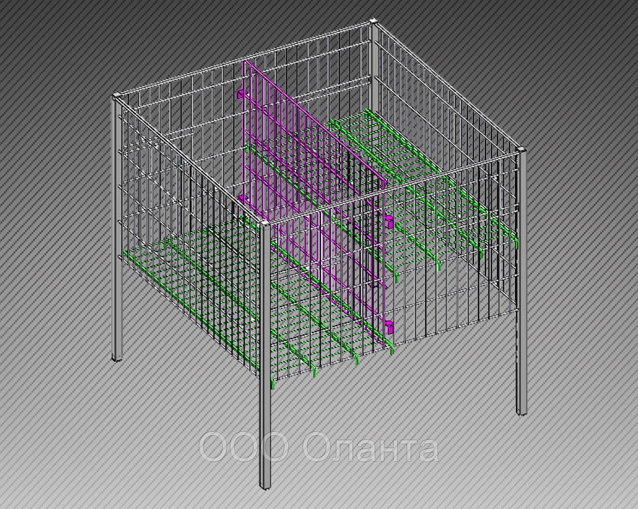 Стол для распродаж-накопитель c регулируемым дном усиленный (750х750х750 мм) крашенный арт. RRS75/75/45