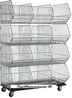Комплект из четырех корзин с разделителями КОШ 4 (600х600х1600 мм) на колесах крашенный арт. ГККС60/60/25, фото 1