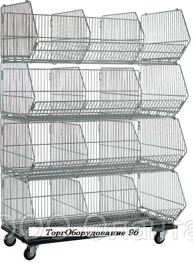 Комплект из четырех корзин с разделителями КОШ 4 (900х600х1600 мм) на колесах крашенный арт. ГККС90/60/25