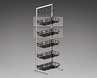 Прикассовая стойка на 5 корзин и 1 дисплей с крючками (800х400х1450 мм) арт. СтПр28