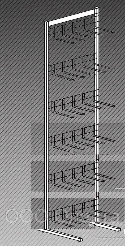 Прикассовая стойка на 6 дисплеев с крючками (800х400х1450 мм) арт. СтПр30