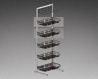 Прикассовая стойка на 5 корзин и 1 дисплей с крючками (400х400х1800 мм) арт. СтПр38