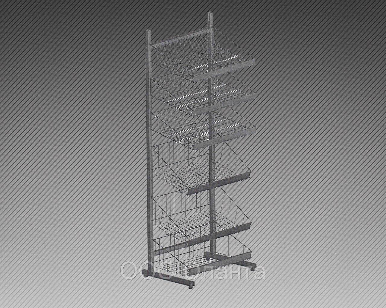 Прикассовая стойка на 6 корзин и 6 полок под шоколад (800х800х1450 мм) арт. СтПр87