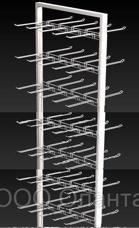 Прикассовая стойка на 12 дисплеев с крючками (800х800х1450 мм) арт. СтПр90