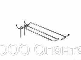 Крючок двойной с держателем ценника (L-100 мм) э/панель,сетка,перфорация