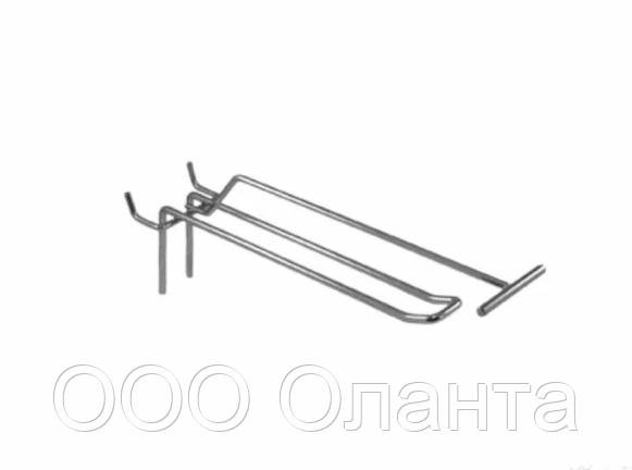 Крючок двойной с держателем ценника (L-200 мм) э/панель,сетка,перфорация
