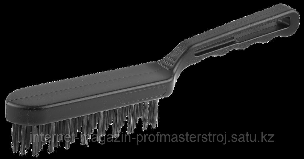 Щетка проволочная стальная, 5 рядов, большая, серия «ЭКСПЕРТ», ЗУБР