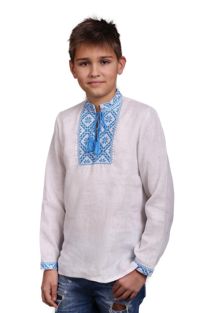 Вышиванка на мальчика с голубым орнаментом - фото 2
