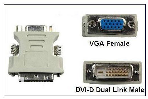 Переходник  Dvi-D 24+1pin папа -VGA 15pin мама