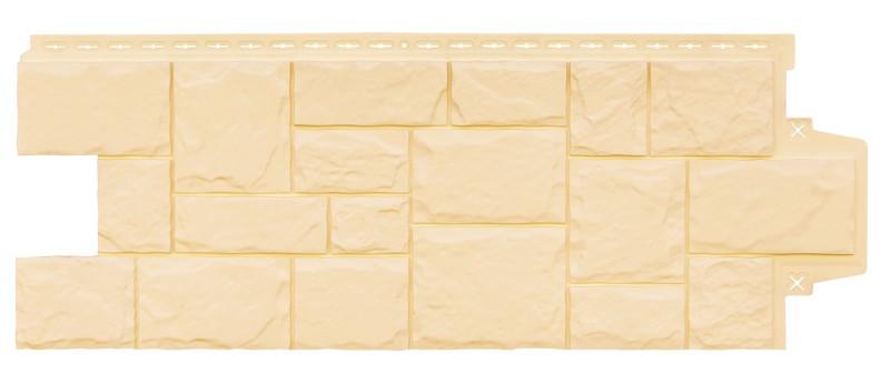 """Фасадная панель Grand Line коллекция """"крупный камень, цвет бежевый"""