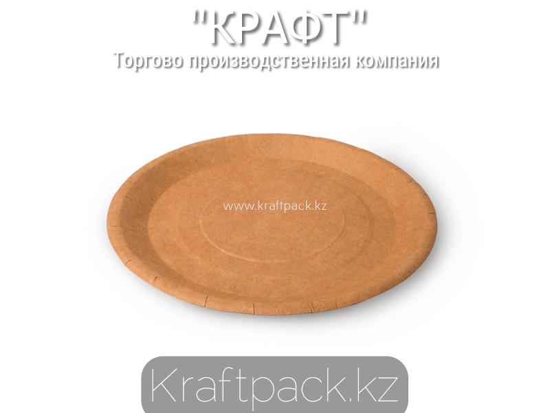 Бумажная тарелка крафт 180мм DoEco (100/900)