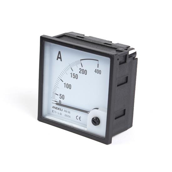 Амперметр Andeli AM-96 AC 200/5A, Диапазон: 0-400 А, Цена деления: До 50 А - по 10, до 200 А - по 5, Класс точ