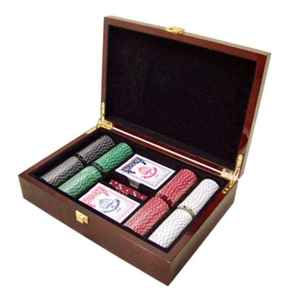Набор для покера 200 фишек ARMS 2006228, Корпус: Дерево, Покрытие: Глянцевый лак, Кубиков: 5 шт., Фишек: Белых