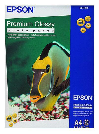Фотобумага Epson Premium Glossy Photo Paper, A4, односторонняя, глянцевая, 255 г/м ², Упаковка: 20 блистеров,