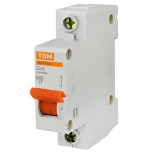 Автоматический выключатель реечный TDM ВА47-63 1P 63А, 230/400 В, Кол-во полюсов: 1, Предел отключения: 4,5 кА