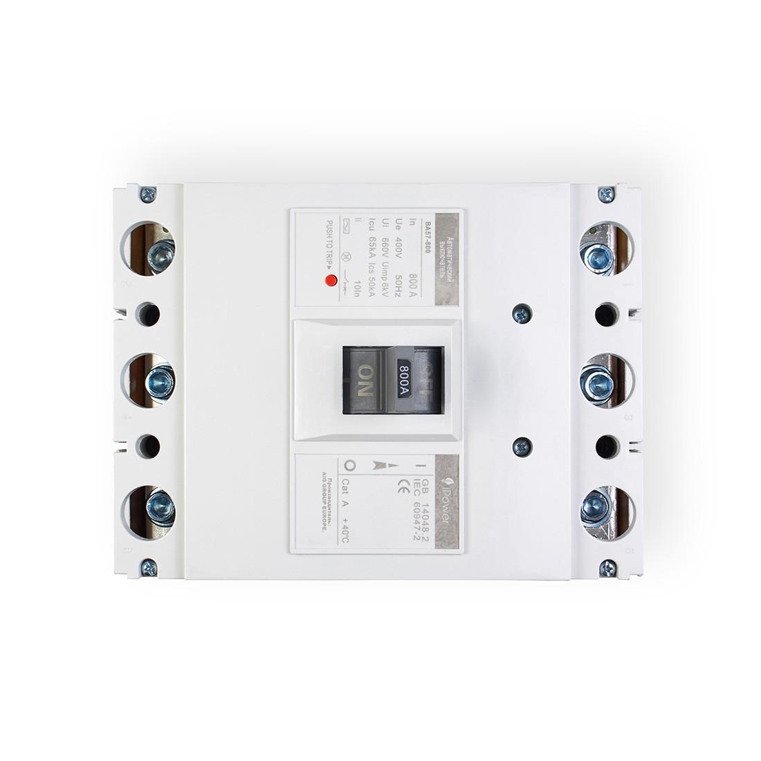 Автоматический выключатель установочный iPower ВА57-800 3P 800А, 380/660 В, Кол-во полюсов: 3, Предел отключен