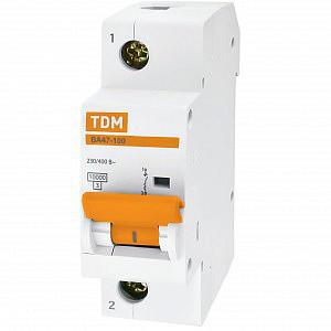 Автоматический выключатель реечный TDM ВА47-100 1P 100А, 230/400 В, Кол-во полюсов: 1, Предел отключения: 10 к