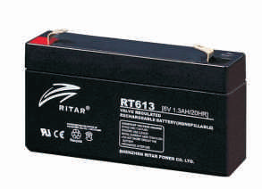 Батарея необслуживаемая (аккумулятор) Ritar RT613 (6V 1,3 Ah), Емкость аккумулятора: 1,3 Ah, Разъемы: F1