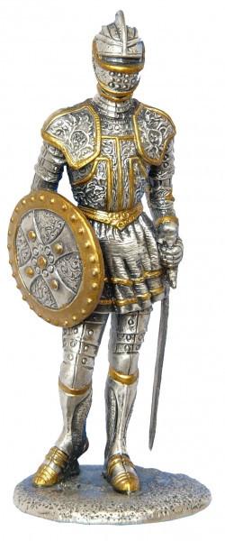 Статуэтка оловянный солдатик Wise Unicorn Рыцарь С щитом и мечом, Высота: 110 мм, Материал: Оловянный сплав, (