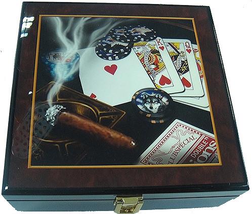 Набор для покера 100 фишек ARMS PP2107B, Корпус: Дерево, Покрытие: Глянцевый лак, Кубиков: 5 шт., Фишек: Белых