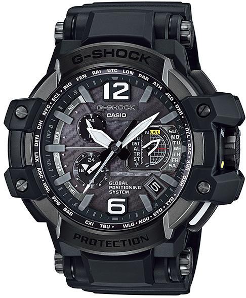 Часы электронные наручные мужские Casio G-SHOCK GPW-1000-1B, Механизм: Кварц, Браслет: Из карбона и полимерног